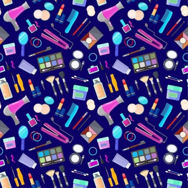 Wzór z narzędziami do makijażu Premium Wektorów