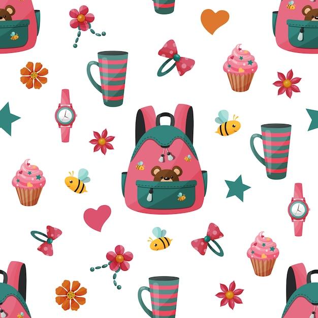 Wzór z plecakiem dziewczyny i ciastko. Premium Wektorów