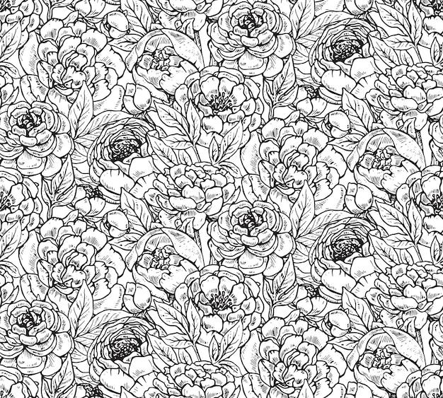 Wzór Z Ręcznie Rysowane Kwiaty Piwonii. Czarno-białe Niekończące Się Tło. Premium Wektorów