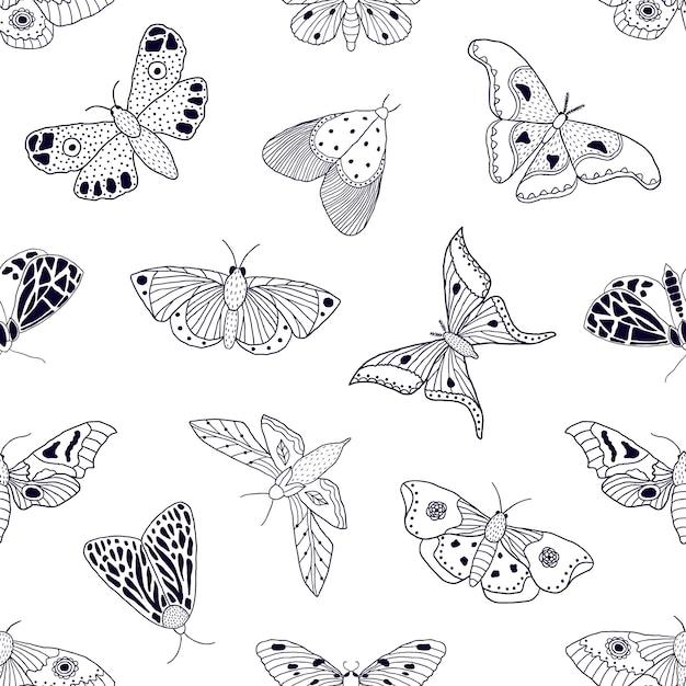 Wzór Z Ręcznie Rysowane Motyle I ćmy Premium Wektorów