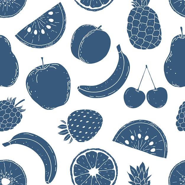 Wzór Z Ręcznie Rysowane Owoce Premium Wektorów
