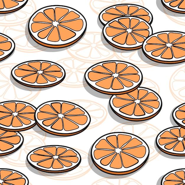 Wzór Z Ręcznie Rysowane Plastry Pomarańczy Z Cieniami Premium Wektorów