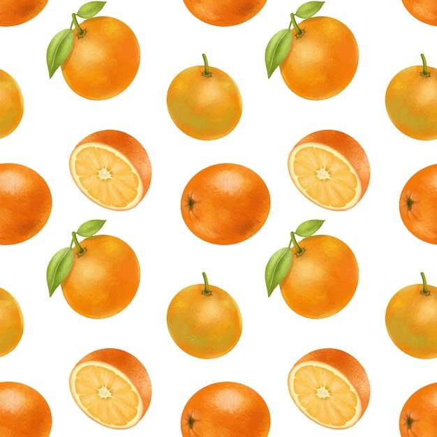 Wzór Z Ręcznie Rysowane Pomarańczy Premium Wektorów
