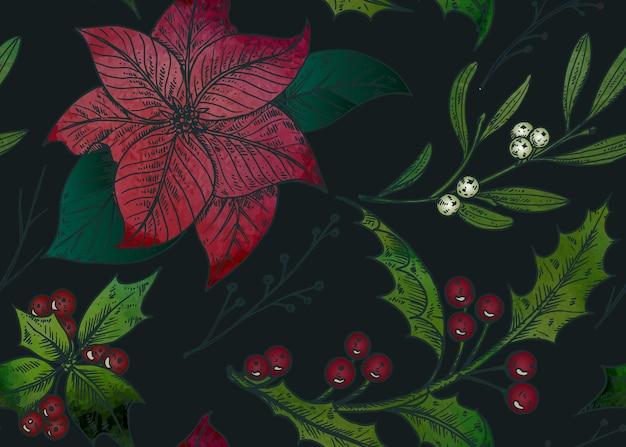Wzór Z Ręcznie Rysowane Rośliny Zimowe. Premium Wektorów