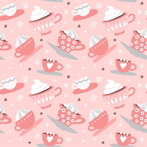Wzór Z Ręcznie Rysowane Różowe Słodkie Romantyczne Kubki Walentynki, Kubki, Serca, Kawa, Kakao Premium Wektorów