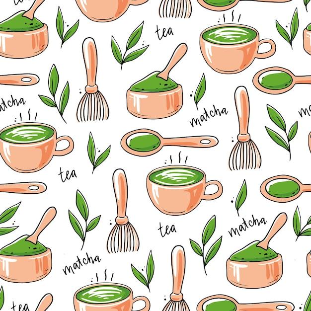 Wzór Z Ręcznie Rysowane Składnik Herbaty Matcha I Elementy Tradycyjnej Ceremonii Premium Wektorów
