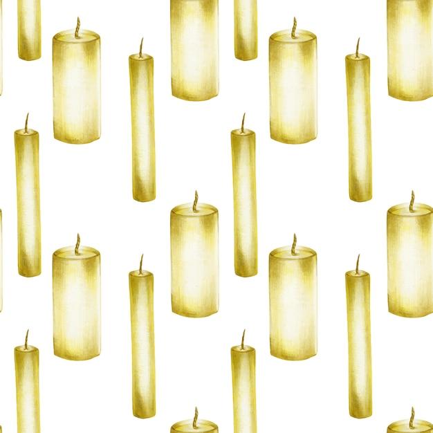 Wzór Z Ręcznie Rysowane świece Premium Wektorów