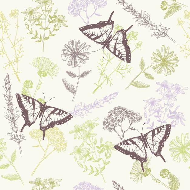 Wzór Z Ręcznie Rysowane Tuszem Motyle, Zioła I Kwiaty Premium Wektorów