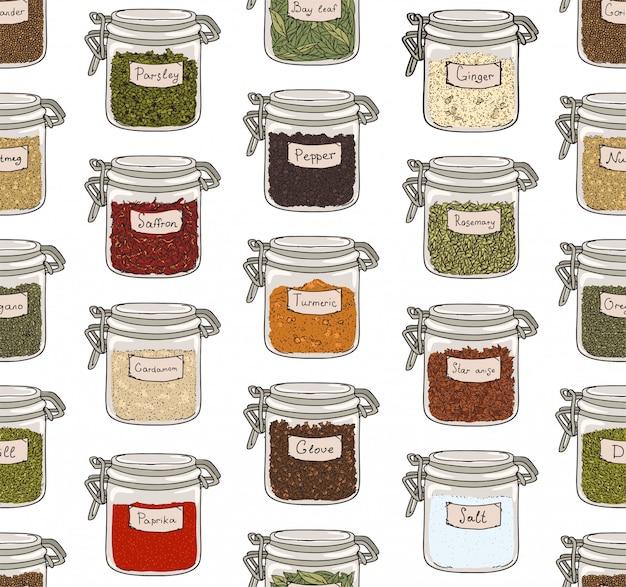 Wzór Z Różnych Mielonych Przypraw Lub Pikantnych Przypraw Przechowywanych W Szklanych Słoikach Na Białym Tle. Premium Wektorów