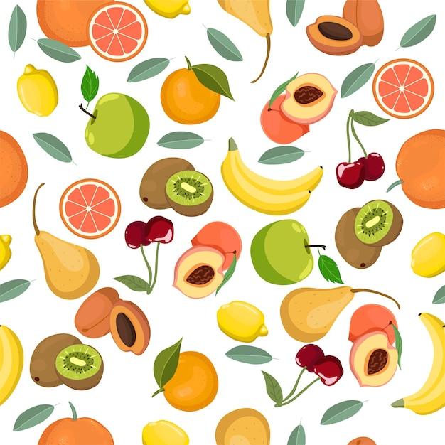 Wzór Z Różnych Owoców. . Premium Wektorów