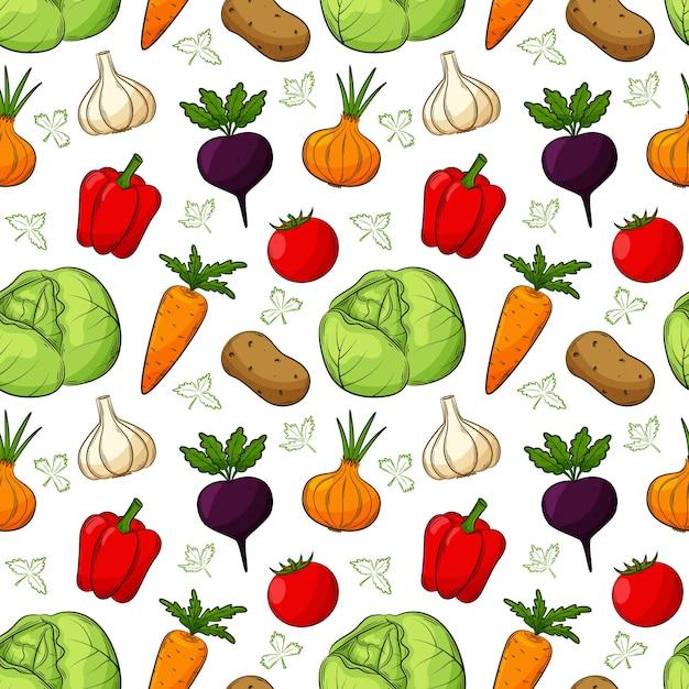 Wzór Z Różnymi Warzywami. Kolorowe, Ręcznie Rysowane Elementy Liniowe Z Konturem Są Izolowane Na Przezroczystym Tle. Do Projektowania Akcesoriów Kuchennych I Opakowań Do żywności. Premium Wektorów