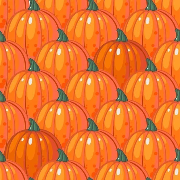 Wzór Z Rzędami Dojrzałe Pomarańczowe Dynie. Premium Wektorów