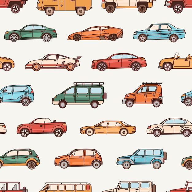 Wzór Z Samochodami O Różnych Stylach Konfiguracji Nadwozia Premium Wektorów
