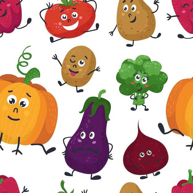 Wzór z słodkie warzywa Premium Wektorów