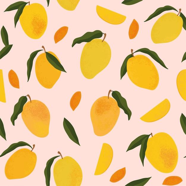 Wzór Z świeże Jasne Egzotyczne Całe I Pokrojone Mango Na Białym Tle Premium Wektorów
