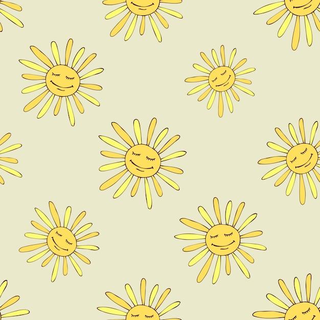 Wzór Z Szczęśliwym Słońcem. Sztuka Projektowania Słonecznego Lata. Darmowych Wektorów