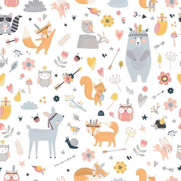 Wzór Z Uroczych Zwierząt Plemiennych W Stylu Cartoon. Ilustracja Leśnych Przyjaciół, Niedźwiedź, Jeleń, Lis, Jeż, Wiewiórka, Sowa. Premium Wektorów