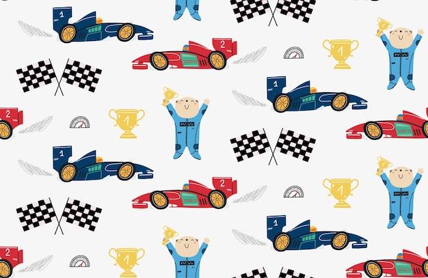 Wzór Z Uroczym Misiem Wyścigowym I Samochodami Wyścigowymi Premium Wektorów