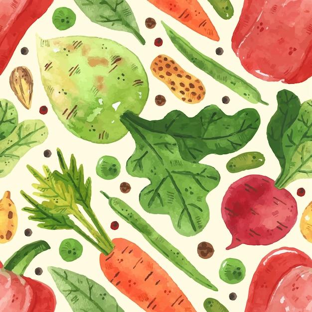 Wzór Z Warzywami. Zieloni, Groch, Fasola, Papryka, Liść, Rzodkiew, Marchew. Styl Akwareli Premium Wektorów