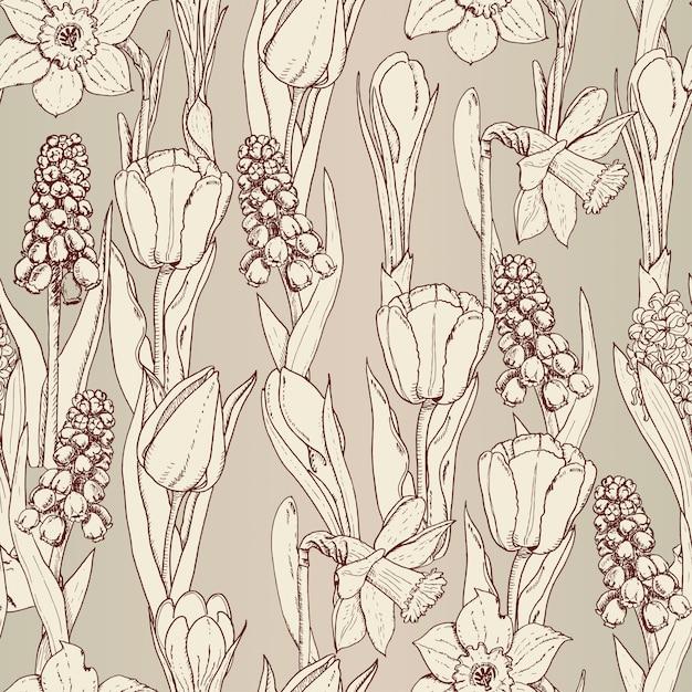 Wzór Z Wiosennych Kwiatów Premium Wektorów