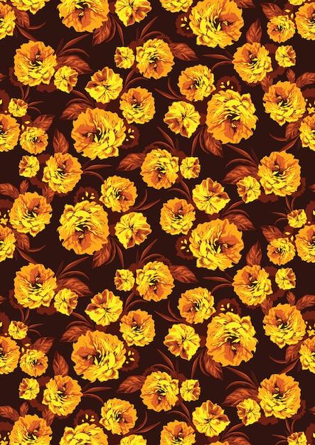 Wzór z żółte kwiaty ogrodowe Premium Wektorów