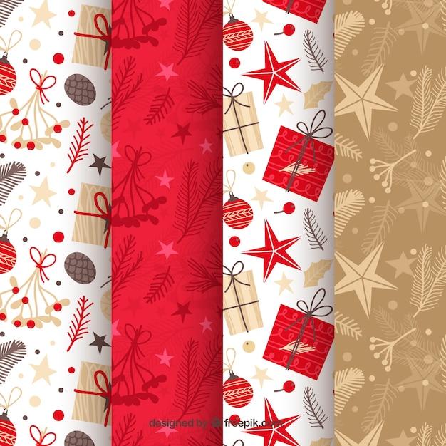 Wzory świąteczne w kolorze czerwonym, beżowym i białym Darmowych Wektorów
