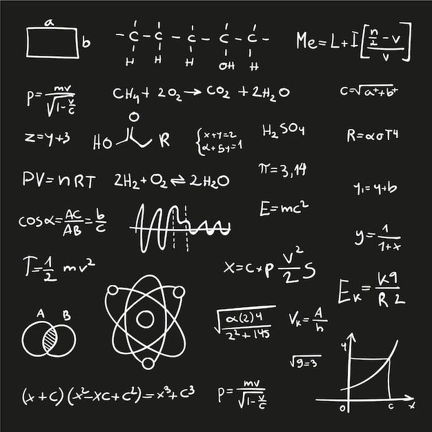Wzory Naukowe Na Tablicy Ręcznie Rysowane Darmowych Wektorów