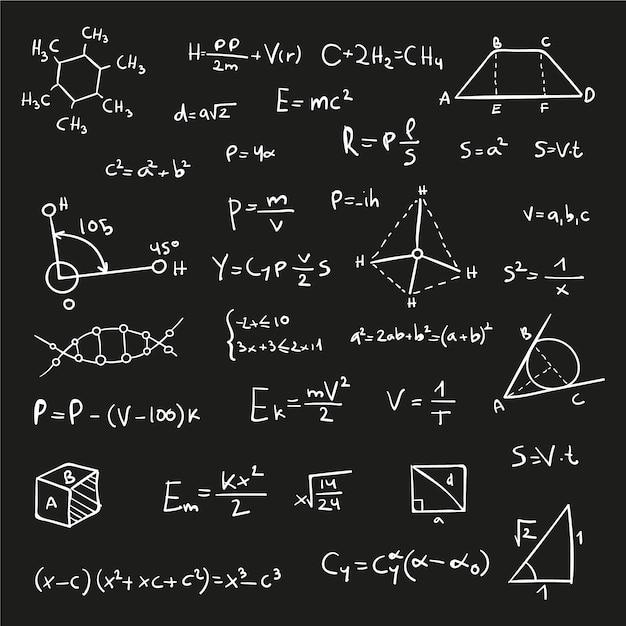 Wzory Naukowe Na Tablicy Darmowych Wektorów