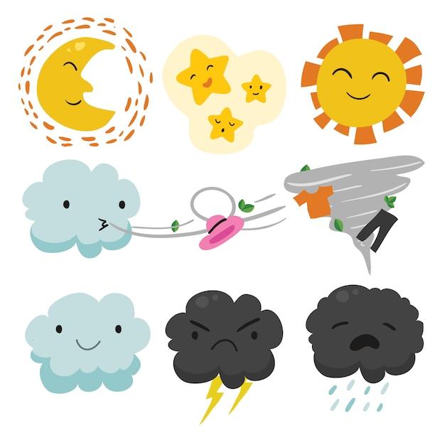 Wzory Pogodowe Kolekcji Darmowych Wektorów