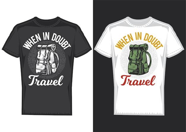 Wzory T-shirtów Z Ilustracją Przedstawiającą Plecak Kempingowy. Darmowych Wektorów
