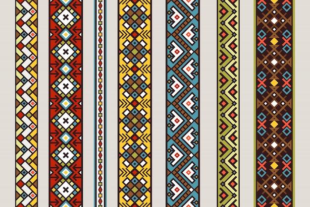 Wzory Wstążki Etnicznej. Wektor Zestaw Meksykańskiej Lub Tybetańskiej Wstążki Bez Szwu Z Projektowania Dywanów Premium Wektorów