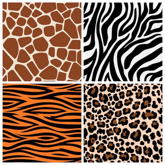 Wzory Zebry, żyrafy I Lamparta Premium Wektorów