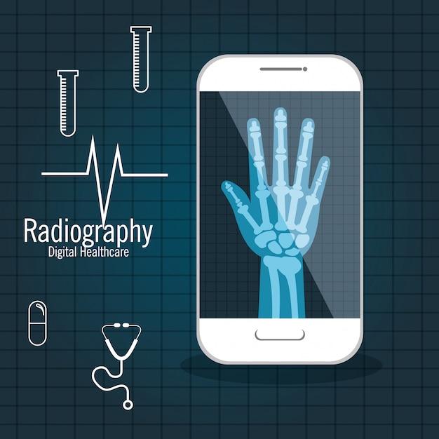 X Ray Cyfrowej Opieki Zdrowotnej Na Białym Tle Premium Wektorów