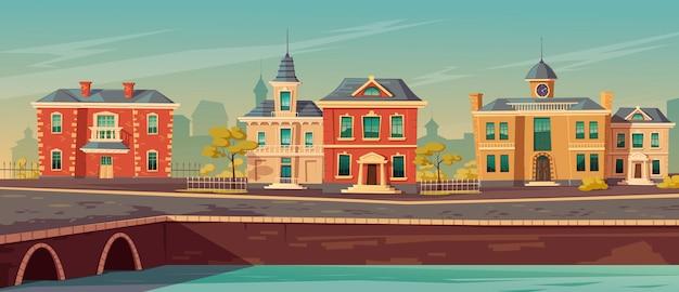 Xix-wieczna Ulica Miasta Z Europejskimi Budynkami Darmowych Wektorów
