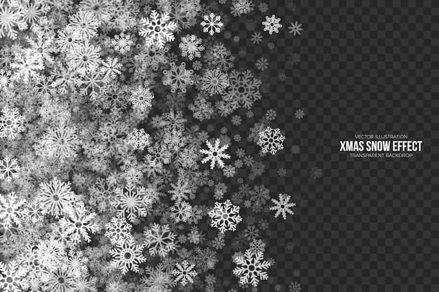 Xmas snow effect przezroczysta ramka Premium Wektorów