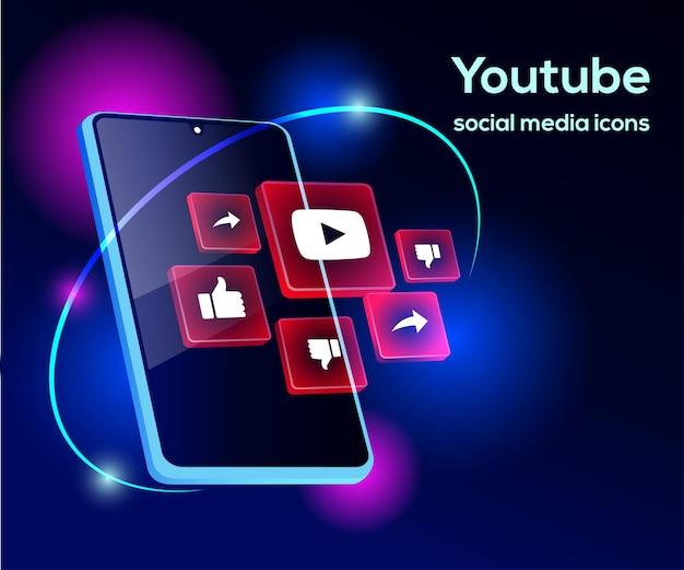 Youtube Ikony Mediów Społecznościowych Z Symbolem Smartfona Premium Wektorów