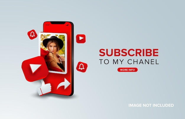 Youtube Subskrybuj Koncepcję Mobilną Premium Wektorów