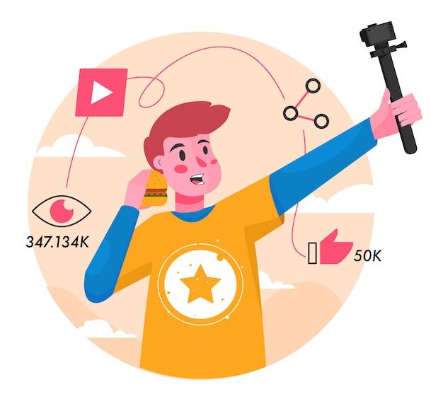 Youtuber Vlog Płaskie Ilustracja Premium Wektorów