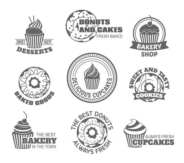 ? Ywno? Ci S? Odkich Smaczne Desery P? Czki I Cupcake Etykiety Zestaw Izolowanych Ilustracji Wektorowych Darmowych Wektorów
