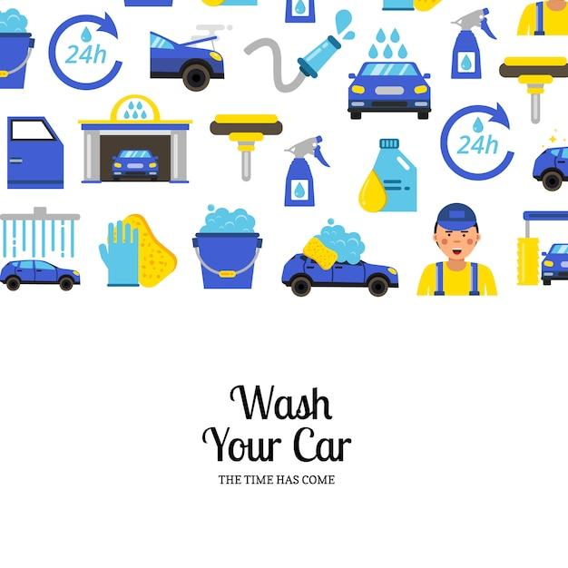 Z myjnią samochodową płaskie ikony i miejsce na tekst Premium Wektorów