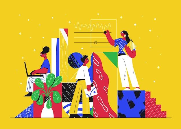 Z Płaskim Wyciągnąć Ludzi, Zaczynając Projekt Biznesowy Darmowych Wektorów