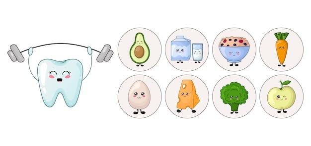 Ząb Kawaii Ze Zdrową Dietą - Jabłko, Produkty Mleczne Premium Wektorów