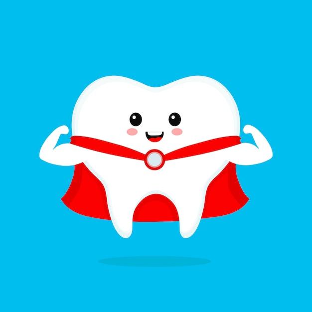 Ząb Zabawny ładny Uśmiechający Się Superbohatera. Ikona Ilustracja Kreskówka Płaski Charakter. Biały Ząb Na Niebieskim Tle. Czyść Zdrowe, Mocne Zęby, Dentysta Premium Wektorów