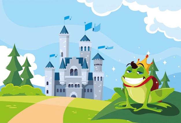 Żaba Książę Z Bajkową Zamek W Górzystym Krajobrazie Premium Wektorów