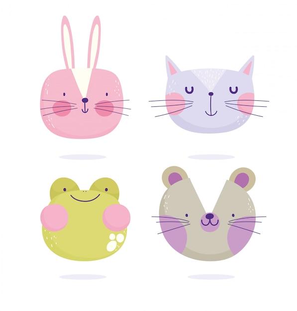 Żaba Myszy Królik Kot Twarze Zwierząt Kreskówka ładny Tekst Premium Wektorów