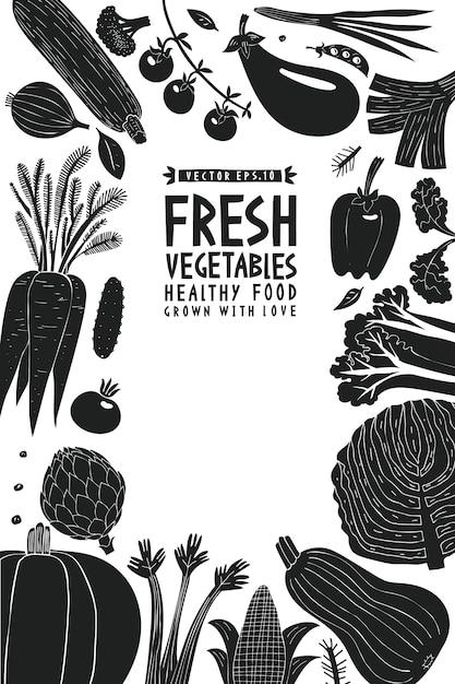 Zabawa Ręcznie Rysowane Warzywa Szablon Projektu. Premium Wektorów