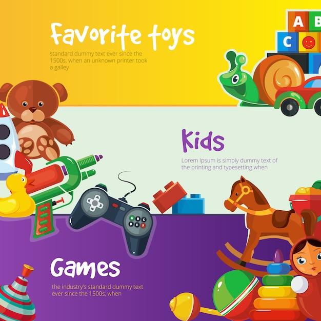 Zabawki baner szablony płaska konstrukcja Premium Wektorów