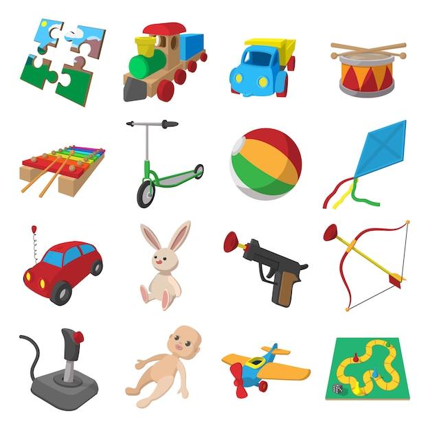 Zabawki kreskówki ikony ustawiać odizolowywać Premium Wektorów