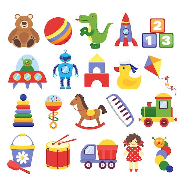 Zabawki Z Kreskówek. Gra Zabawka Miś Dinozaur Rakieta Kostki Dziecięce Latawiec Robot. Wektor Lalki Dla Dzieci Premium Wektorów