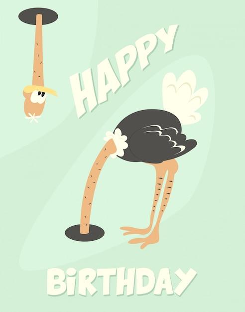 Zabawna karta urodzinowa z cute strusia Darmowych Wektorów